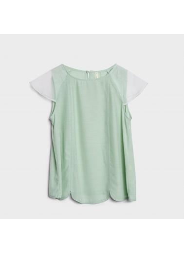 Yargıcı Yakası Dekorlu Bluz Yeşil